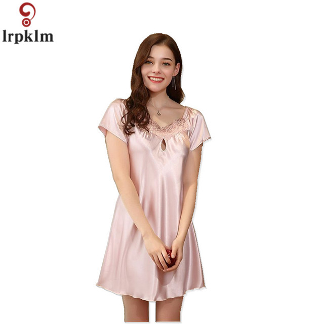 Summer New Ladies Lace Nightdress Short Sleeve Round Neck Thin Nightdress  Sexy Color Simulation Silk Nightdress Female Jw079 39d1f9154