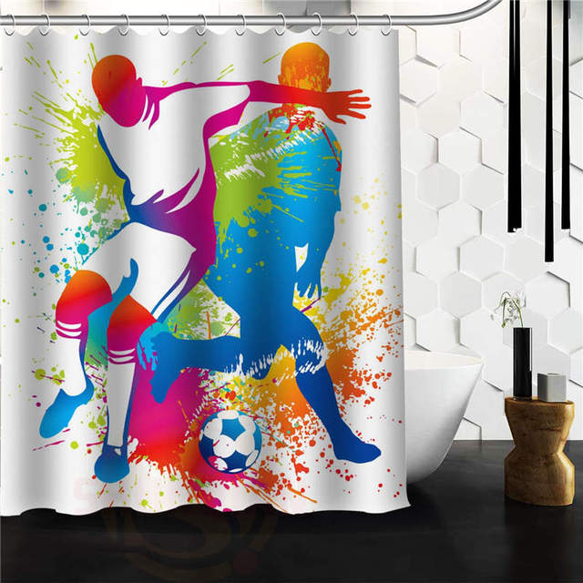 Outlet Seller Custom Playing Men With Soccer Waterproof Bathroom Fabric Shower Curtain 60 X