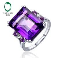 CaiMao 11.5ct Natural Emerald Cut Amethyst 0.10ct Superior Diamond 14k White Gold Ring