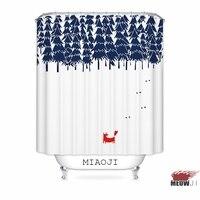 [MIAOJI] Mùa Đông Tuyết Động Vật Cây tùy chỉnh Rèm Tắm Tắm trang trí nội thất kích cỡ khác nhau Miễn Phí vận chuyển