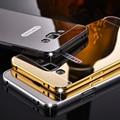 Telefone luxo metal case para samsung galaxy a310 a510 a710 a3 J5 J7 A5 A7 Prime 2016 Chapeamento Moldura de Alumínio + Espelho Tampa Traseira
