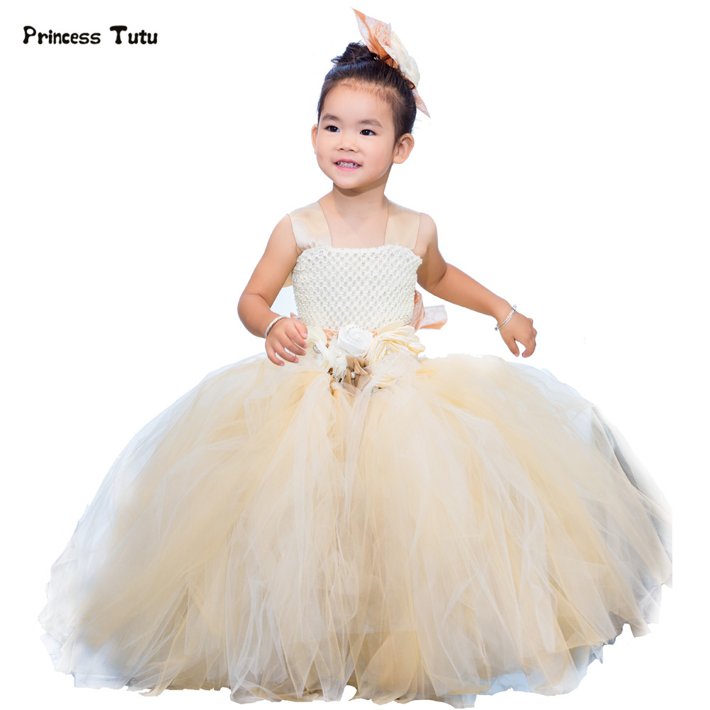 New Flower Girls Tutu Dress Champagne Tulle Flower Girl Dresses Kids Party Pageant Ball Gown Princess Girls Wedding Dress