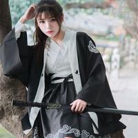 Japanese Bushido Women Dress 2 Pieces Coat and Dress Long Large Sleeve Cuff Japan Girl Robe Crane Print White and Black Set 2018