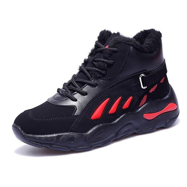 Женская теплая спортивная обувь Новое поступление Красные Кожаные женские кроссовки дышащие меховые пары кроссовки для женщин