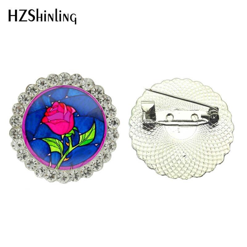 2017 Baru Perhiasan Bros Pin Kecantikan dan Binatang Crystal Bros Mawar Bulat Bunga Bros Pin Perhiasan untuk Wanita