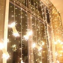 6*3 М 600LED Рождественский СВЕТ Фея Строка Рождественские Огни Украшение Партии Свадьба сосулька Занавес Фары Бесплатная Доставка