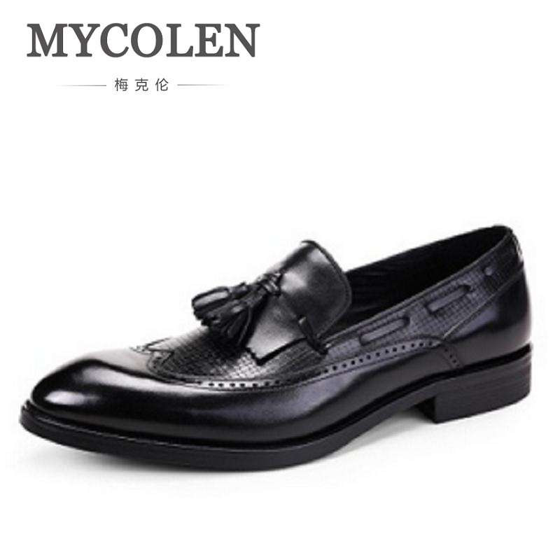 MYCOLEN new business leather Dress Shoes Classic Bullock Formal tassel Genuine Leather Men Shoes For Men Footwear Wedding 247 classic leather
