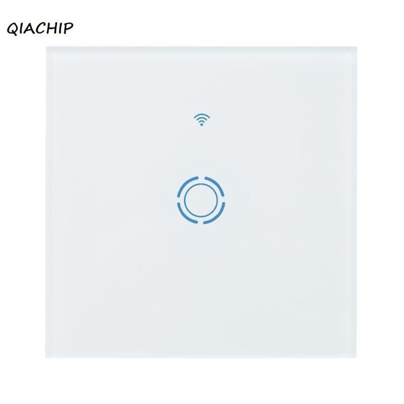 QIACHIP WiFi Smart Switch Smart Home EU 1 Gang Touch Panel Wireless Remote Wifi Light wall Switches Control via Smartphone H3 eu uk standard sesoo 3 gang 1 way remote control wall touch switch wireless remote control light switches for smart home
