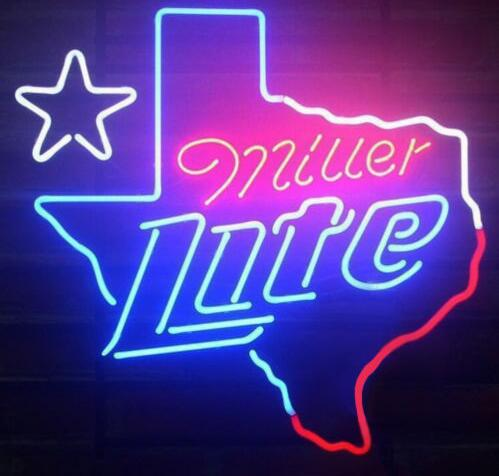 -Tm miller Lite Texas di Vetro Luce Al Neon Della Birra Bar Su Misura Made-Tm miller Lite Texas di Vetro Luce Al Neon Della Birra Bar Su Misura Made