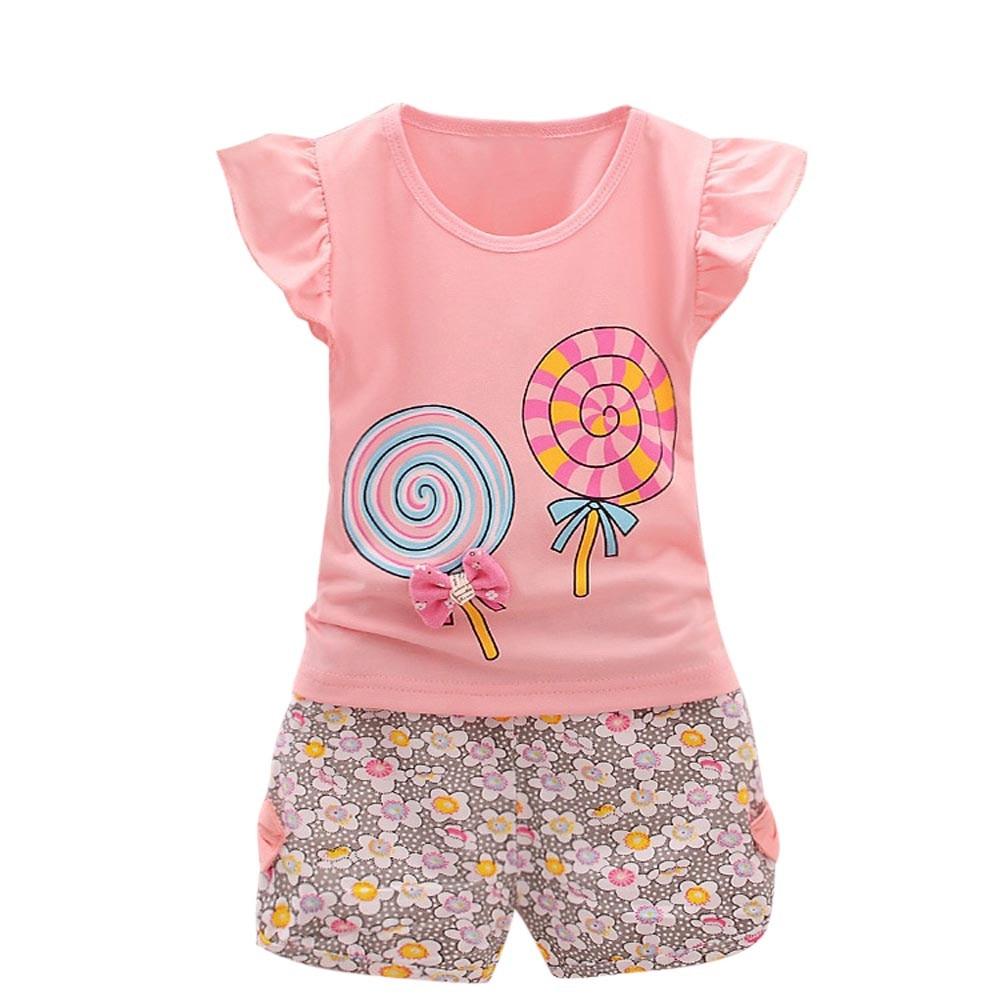 >Summer New Fashion <font><b>2PCS</b></font> <font><b>Toddler</b></font> <font><b>Kids</b></font> Baby Girls Outfits Lolly T-shirt Tops+Short Pants Clothes Set Wholesale Free Ship Z4
