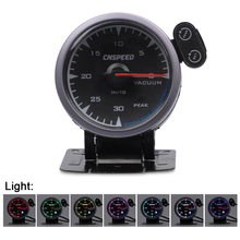 CNSPEED Shark pin 2.5 60mm 12V Universal Vacuum Gauge 0-30 PSI Meter For Honda Car Auto With 7 Colors LED
