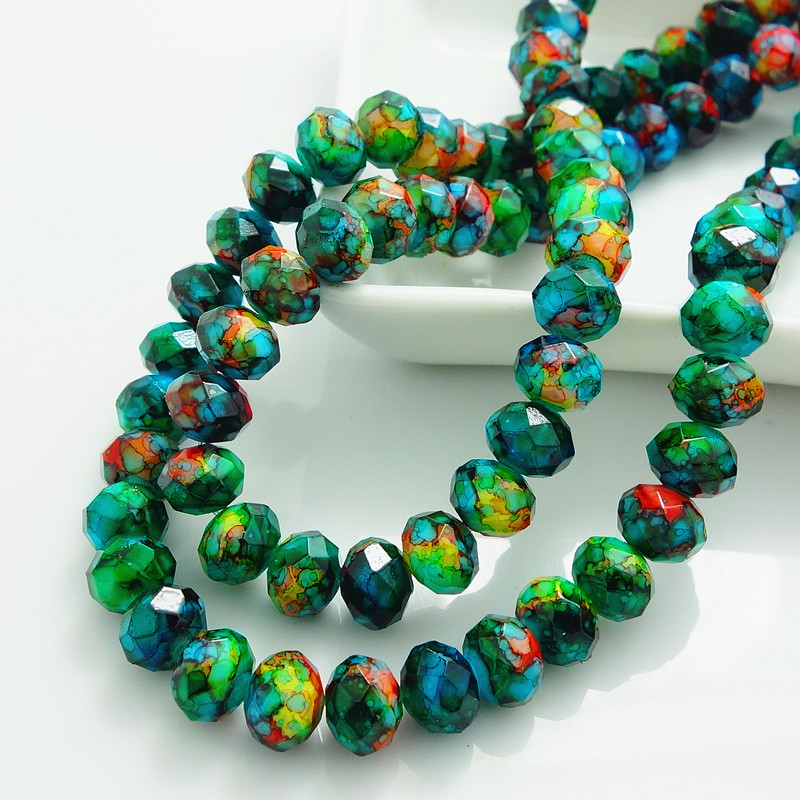 Mode Warna Rondelle Faceted Kristal Kaca Longgar Spacer Beads DIY 4mm 6mm 8mm HB690