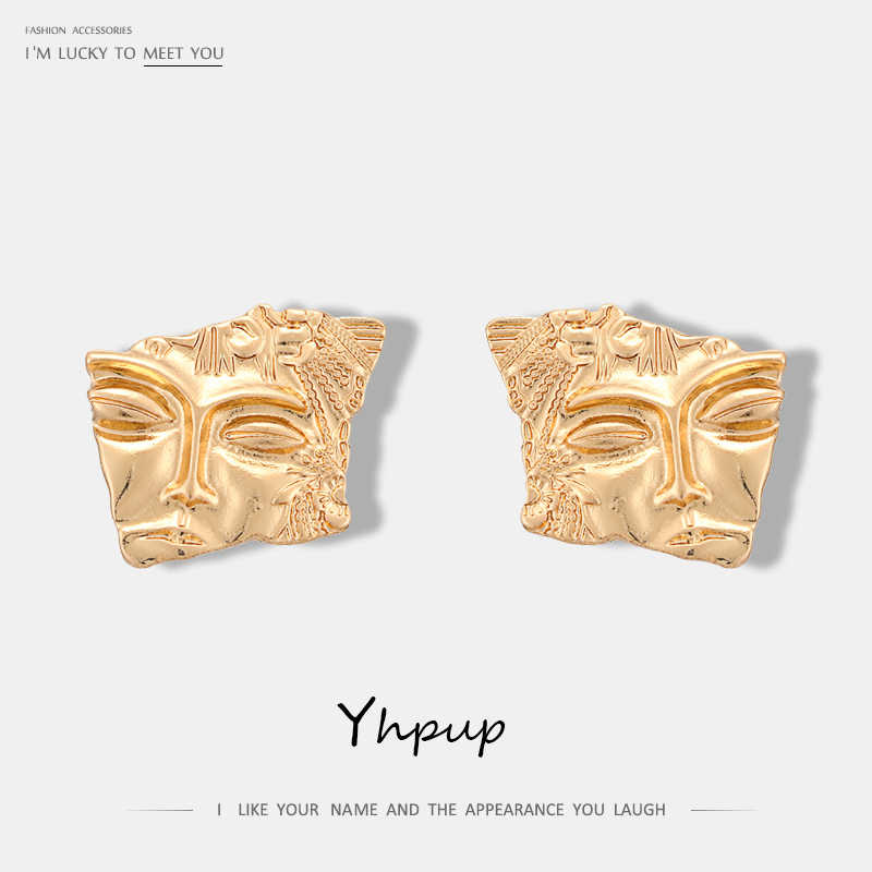 Yhpup Personalized Simple Design Zinc Alloy Face Geometric Stud Earrings Vintage Gold Brincos For Women Pendenties Jewelry Gift
