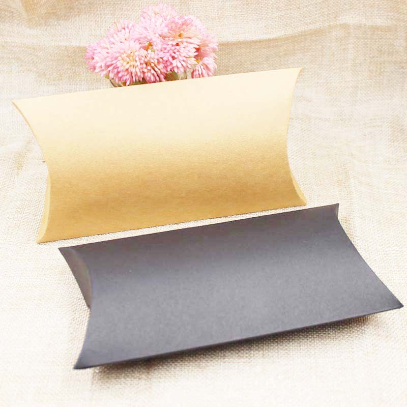 FeiLuanCustom large pillow gift box candy favor packing box kraft black color paper jewelry packing display