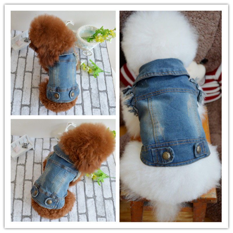 Fashion Pet Puppy Clothes Retro Pattern Personalized Color 5 Sizes Dog Clothes Caught Denim Vests For And Pet Accessories