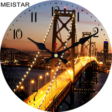 hot deal buy meistar retro wooden wall clocks scenery design silent corridor cafe office home watches home decor vintage wall clocks