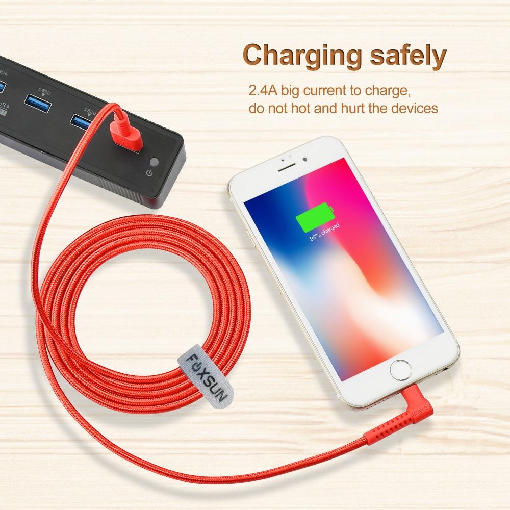 Foxsun 90 градусов L форма для кабель Lightning/USB mfi-контроллеров плетеный нейлоновый Apple iPhone X 8 7 6 5 iPad Быстрая зарядка/кабель синхронизации данных
