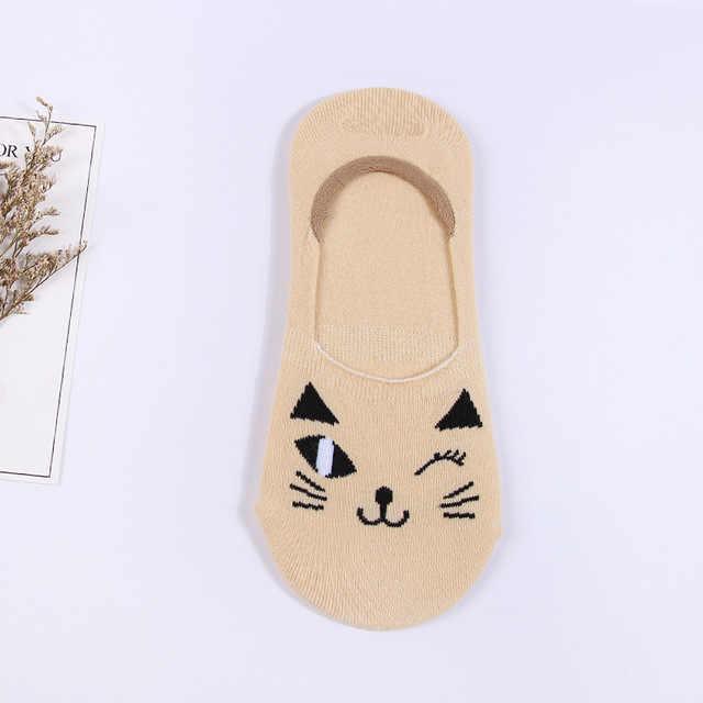 Emboridery 1 זוג גרביים בלתי נראים פה סופר רדוד התגנבות כותנה חתול Kawaii סיליקון החלקה לנשים באיכות סירה גרב