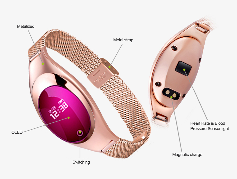 Smart Wristband Z18 Women Bluetooth Bracelet Blood Pressure Oxygen Heart Rate Monitor Pedometer Fitness Tracker For Android iOS 11
