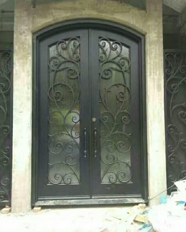 Entry Doors External Door With Top Transom  Beautiful Wrought Iron Doors