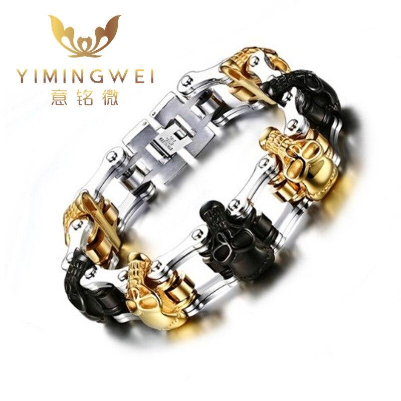Большой Браслеты черный + цвет золотистый 225 мм Панк Череп Байкер Браслеты для Для мужчин Jewelry Нержавеющаясталь браслет мотоцикл