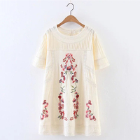 Fashion Women Lace Patchwork Floral Embroidery Dress O Neck Short Sleeve Linen Summer Dress Mini Vestidos