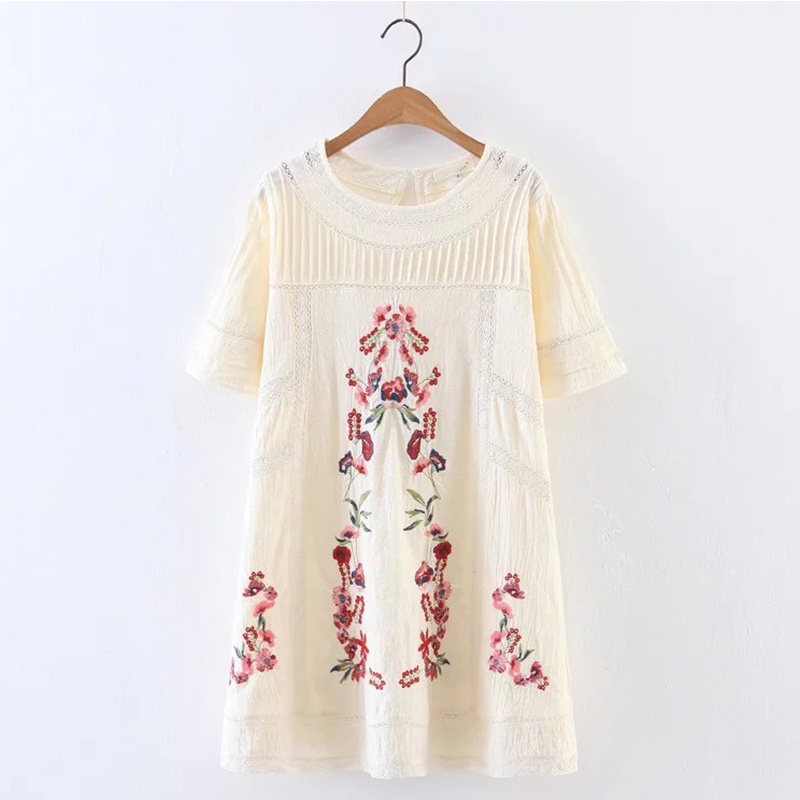 Fashion Women Lace Patchwork Floral Embroidery Dress O Neck Short Sleeve Linen White Summer Dress Mini