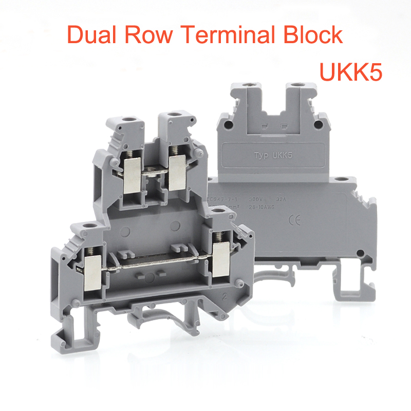 50pcs Din rail dual row terminal blocks UKK5 screw Type wire electrical double deck terminals block connector morsettiera 32A 50pcs uk5 twin uk5rd 4mm2 din rail screw clamp fuse terminal blocks connector