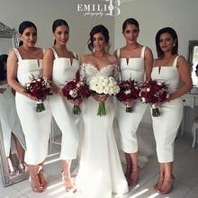 Sheath Spaghetti Strap Boat Neck White Satin Cutout Unique Design Tea Length Bridesmaid Dress 2017 Wedding Party Dresses