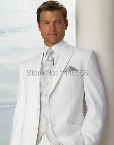 Homem Terno Clássico Custom Made Branco Do Noivo Smoking Dos Homens Ternos Para Casamento Para Os Homens Melhor Homem do Terno do Noivo (Jacket + calça + Colete + Gravata)