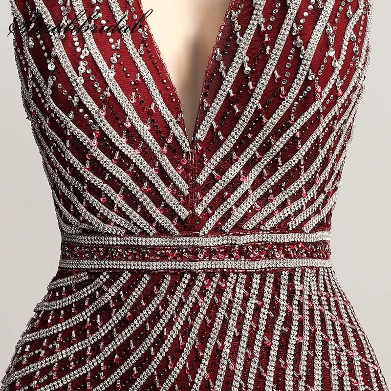 Atemberaubende Crystals Meerjungfrau Abendkleider Burgund Reizvolles ...