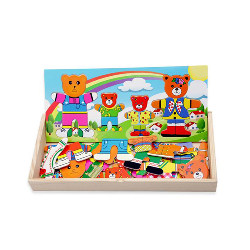 Mambobaby Wooden Puzzle Jigsaw Children Educational Toys Cartoon Bear Dress Changing Puzzles Kids Dressing Clothes Game
