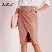 UZZDSS New Fashion 2016 Spring Women Soft PU Leather Skirt Vintage Bodycon Midi Skirt Sexy Clubwear