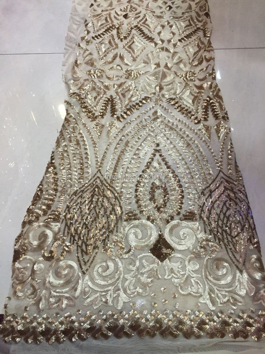 French net lace fabric Sequins chemical paillette wedding dress - Guangzhou Z-han Fashion Embroidery Lace Fabric Co.,Ltd store