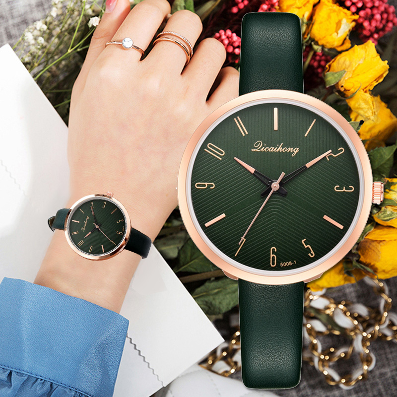 Women's Watches Luxury Fashion Dress Sports Quartz Watch Ulzzang Popular Brand Avocado Green Ladies Leather Wristwatch Gift