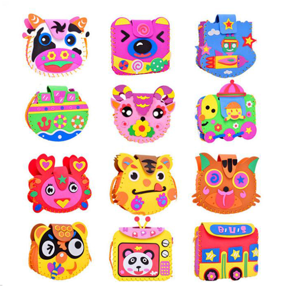 Cartoon Crossbody Bag DIY Applique Bag Children Handmade Non-woven Cloth Cartoon Animal Flower Bag Craft Art Craft Gift 1PCS