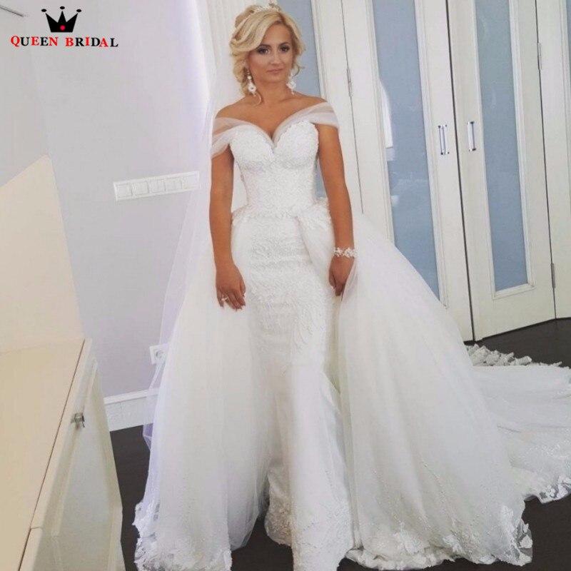 Mermaid Staccabile Gonna Tulle Pizzo Sexy Romantico Nuziale Lunghi Abiti Da Sposa 2018 New Fashion Wedding Gown Custom Made YB91