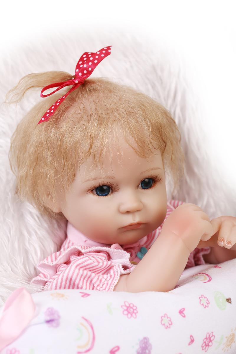 Cute 18'' Silicone Reborn Baby Dolls Rooted Mohair Pink