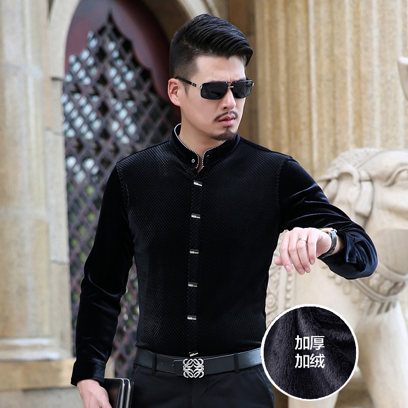 Hot Sale Autumn & Winter New Design Fashion Mens Thick Velvet Shirt Mandarin Collar Long Sleeve Warm Velvet Dress Shirts