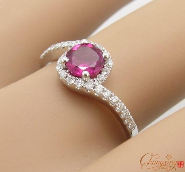 Promotion-14k-White-Gold-Natural-Pink-Tourmaline-Diamond-Charm-Ring-Jewelry