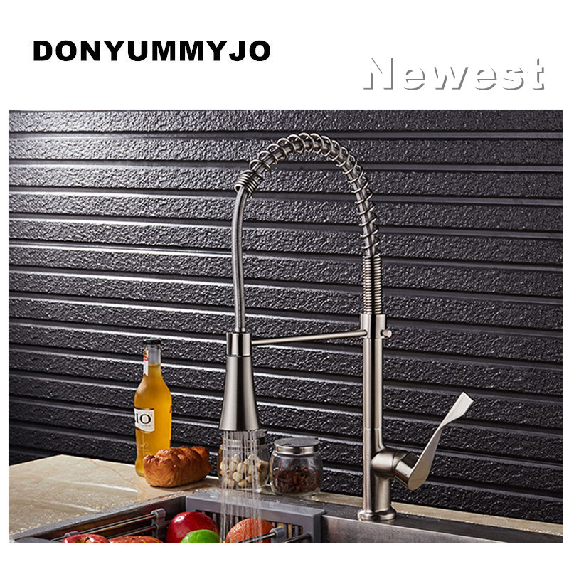 DONYUMMYJO New Design Brass Luxury Spring Hot and Cold Kitchen Sink Faucet Single Handle Double Spout
