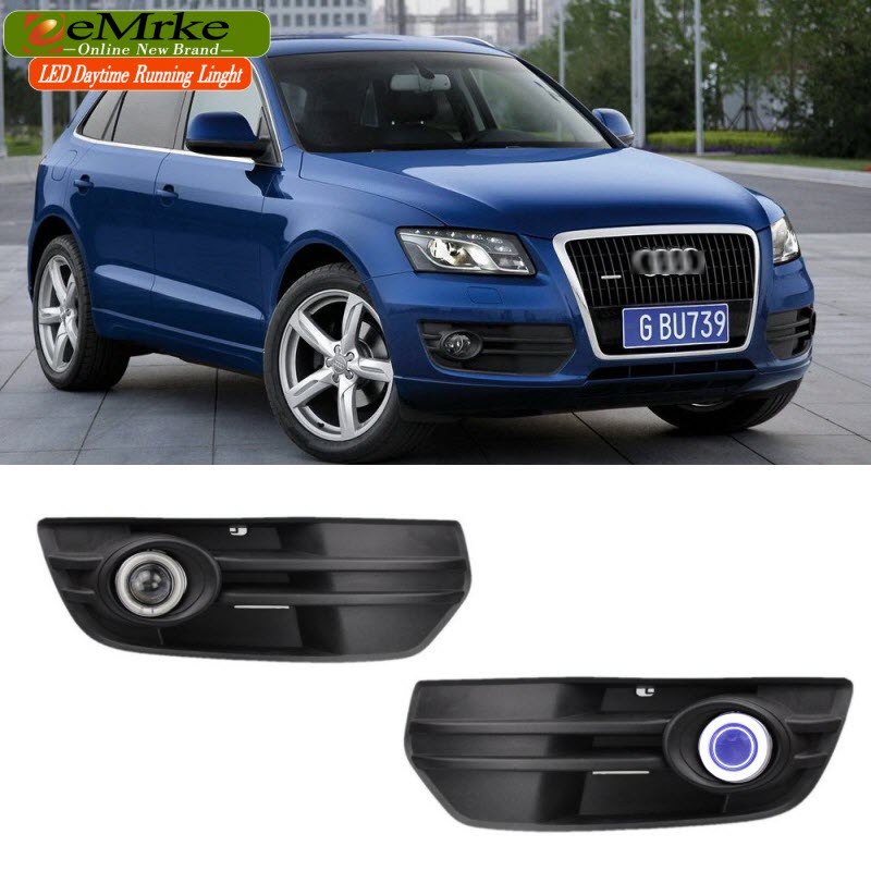 EEMRKE Car Styling FOR Audi Q5 8R 2009-2011 LED COB Angel Eye DRL Daytime Running Lights Halogen Bulbs H11 55W Fog Lamp Kits for opel astra h gtc 2005 15 h11 wiring harness sockets wire connector switch 2 fog lights drl front bumper 5d lens led lamp