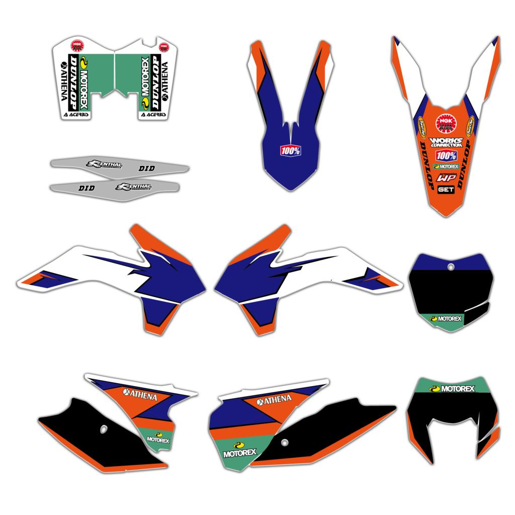 6 Styles Bull Rockstar Team Graphics Decals Stickers For KTM 125 200 250 300 450 500