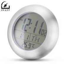 Waterproof Wall Temperature Hygrometer Clock Suction Cup Stand Bathroom Timer Round Stainless Steel