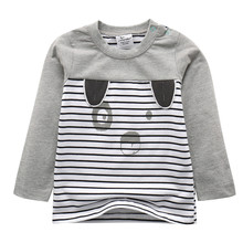 Children Boys Girls unisex T Shirts Clothing stripes hot selling cotton knitted baby clothes long sleeve blouse jumping meters