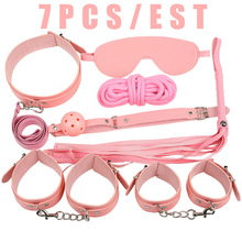 7Pcs/set Sex Products Erotic Toys for Adults BDSM Bondage Set Handcuffs Nipple Clamps Gag Whip Rope SM
