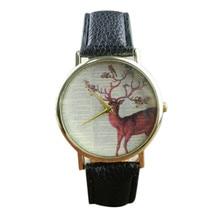 Classic Deer Printed Watch Ladies Leather-based Wristwatch Women Informal Quartz-watch Costume Watches Feminine Clock Relogio Feminino