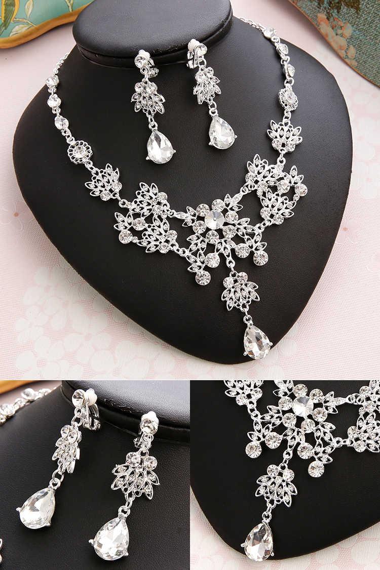 Pernikahan Set untuk Wanita Bling Bride Rambut Aksesoris Tiara Kalung Anting-Anting Set Perhiasan Pernikahan