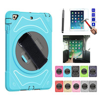 XSKEMP For Apple New iPad 2018 9.7 A1893 A1954 Kids Safe Shockproof Heavy Duty Silicone + PC Kickstand Cover + Tempered Glass