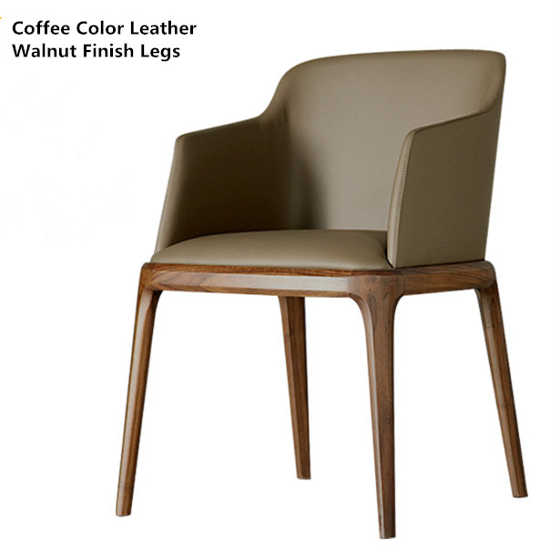 Modern Classic Dining Chair Armchair Leather Upholstery Cushion Seat Solid Wood Dining Room Furniture Accent Arm Chair Wooden